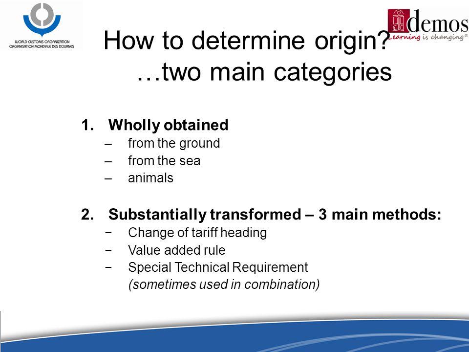 How to determine origin.