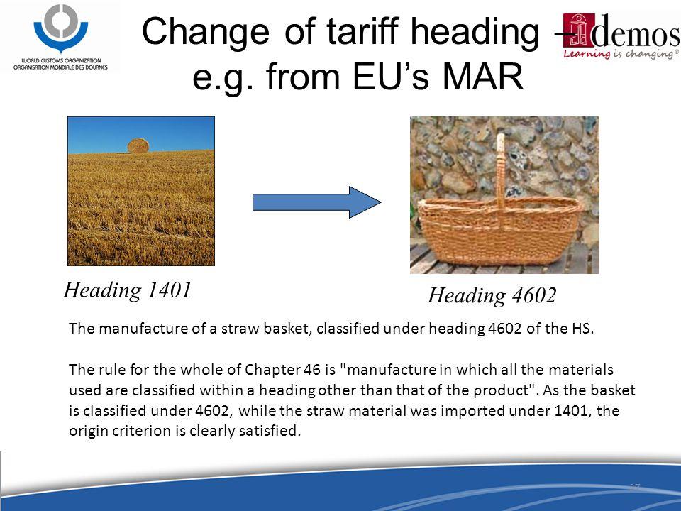 27 Change of tariff heading – e.g.