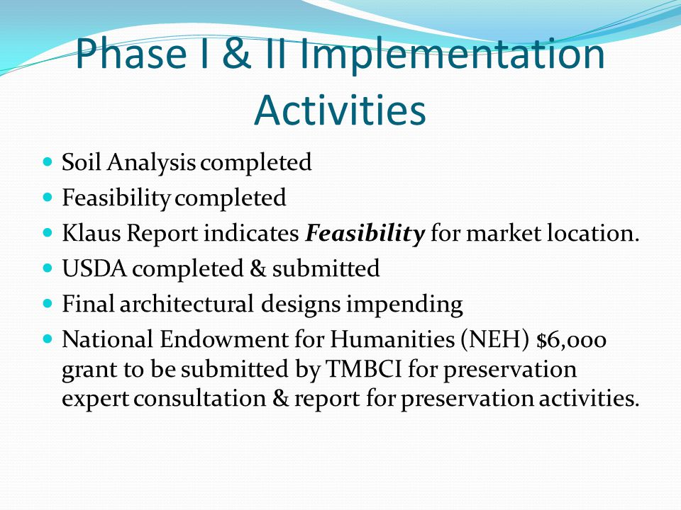 Phase I & II Implementation Activities Soil Analysis completed Feasibility completed Klaus Report indicates Feasibility for market location.