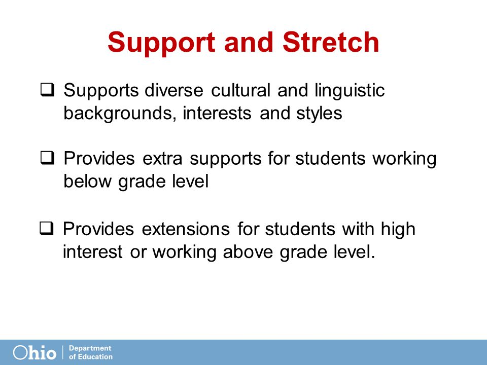 Support and Stretch  Supports diverse cultural and linguistic backgrounds, interests and styles  Provides extensions for students with high interest or working above grade level.