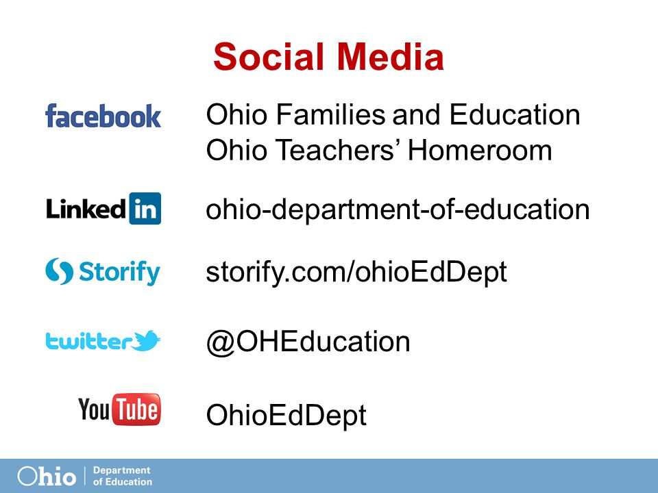 Social Media @OHEducation ohio-department-of-education Ohio Families and Education Ohio Teachers' Homeroom OhioEdDept storify.com/ohioEdDept