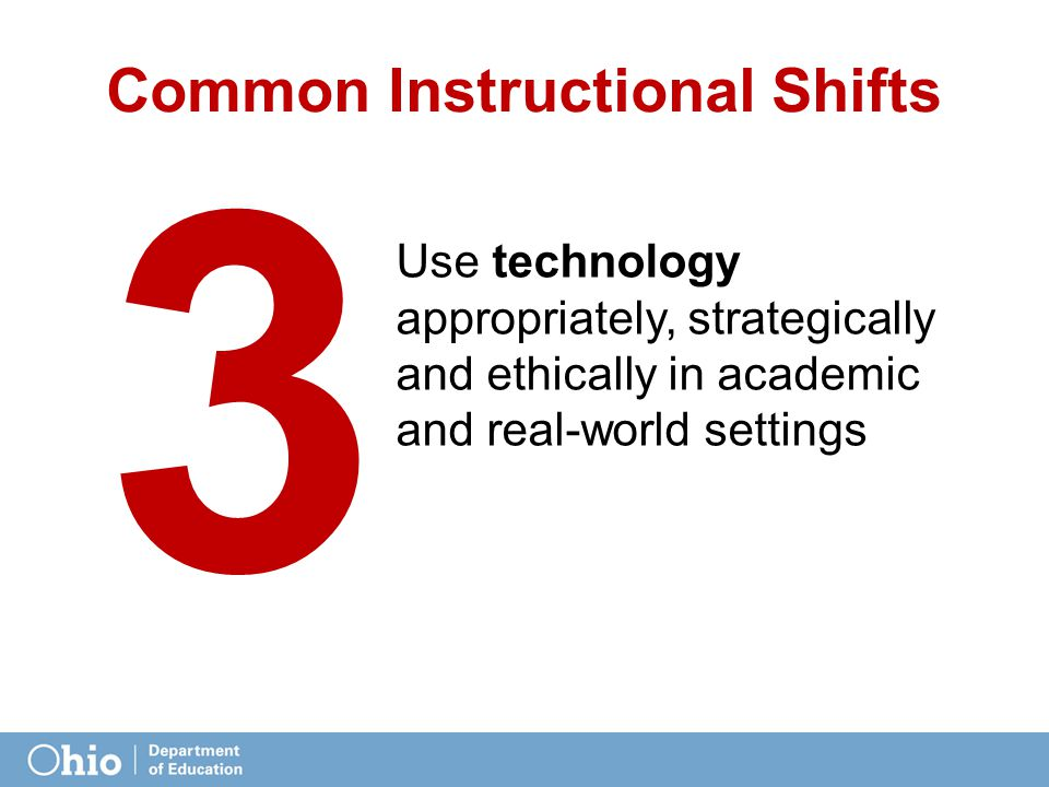 Use technology appropriately, strategically and ethically in academic and real-world settings Common Instructional Shifts 3