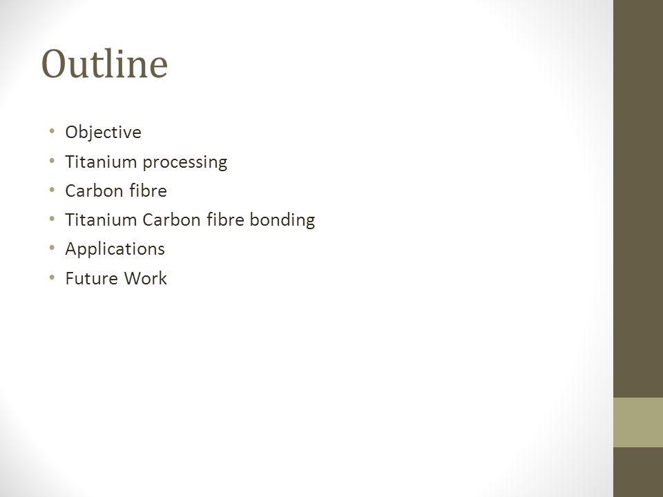 Outline Objective Titanium processing Carbon fibre Titanium Carbon fibre bonding Applications Future Work