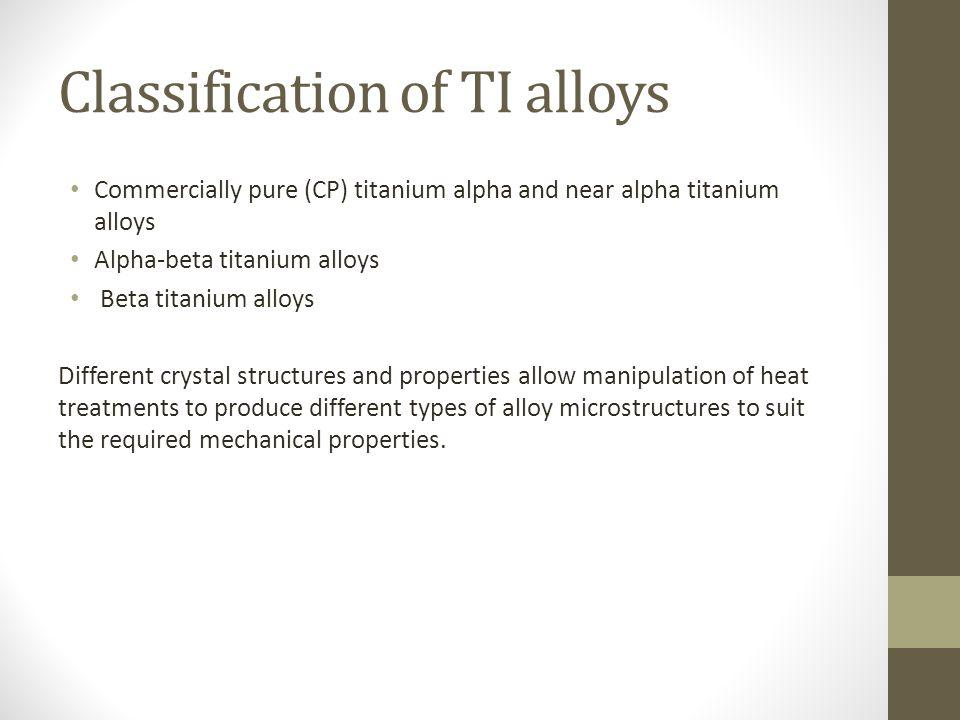 Classification of TI alloys Commercially pure (CP) titanium alpha and near alpha titanium alloys Alpha-beta titanium alloys Beta titanium alloys Diffe