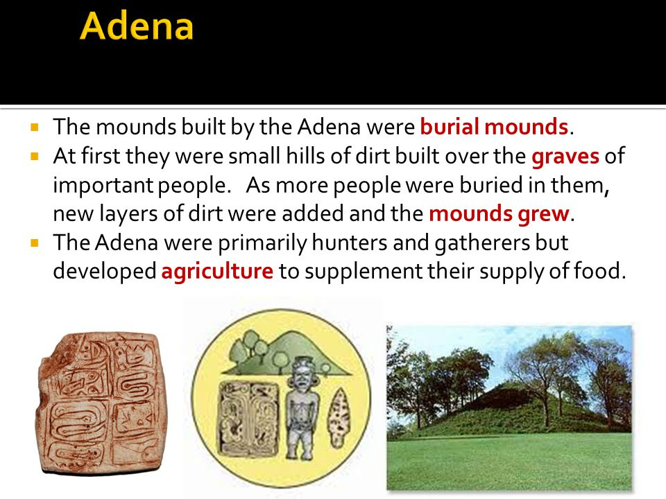  The mounds built by the Adena were burial mounds.