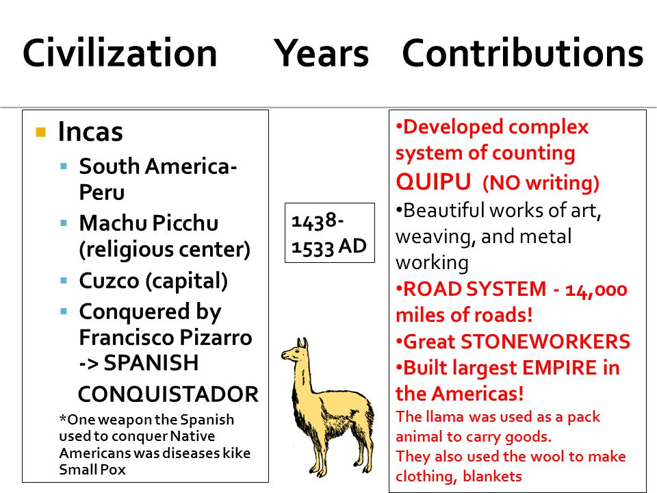  Incas  South America- Peru  Machu Picchu (religious center)  Cuzco (capital)  Conquered by Francisco Pizarro -> SPANISH CONQUISTADOR *One weapon the Spanish used to conquer Native Americans was diseases kike Small Pox 1438- 1533 AD Developed complex system of counting QUIPU (NO writing) Beautiful works of art, weaving, and metal working ROAD SYSTEM - 14,000 miles of roads.