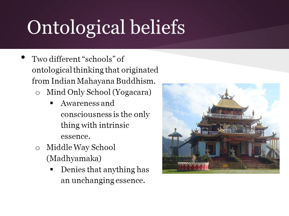 Ontological beliefs Two different schools of ontological thinking that originated from Indian Mahayana Buddhism.