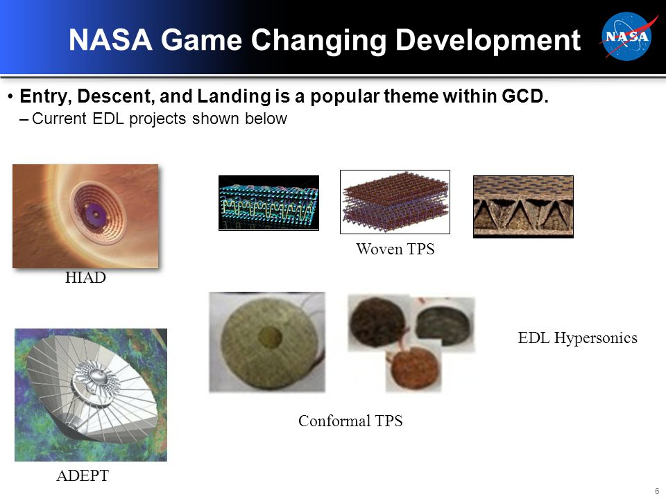 6 NASA Game Changing Development Entry, Descent, and Landing is a popular theme within GCD.