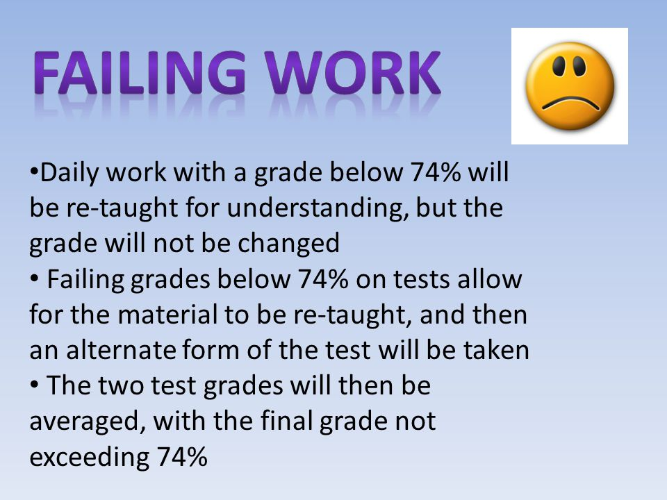 Daily work with a grade below 74% will be re-taught for understanding, but the grade will not be changed Failing grades below 74% on tests allow for the material to be re-taught, and then an alternate form of the test will be taken The two test grades will then be averaged, with the final grade not exceeding 74%