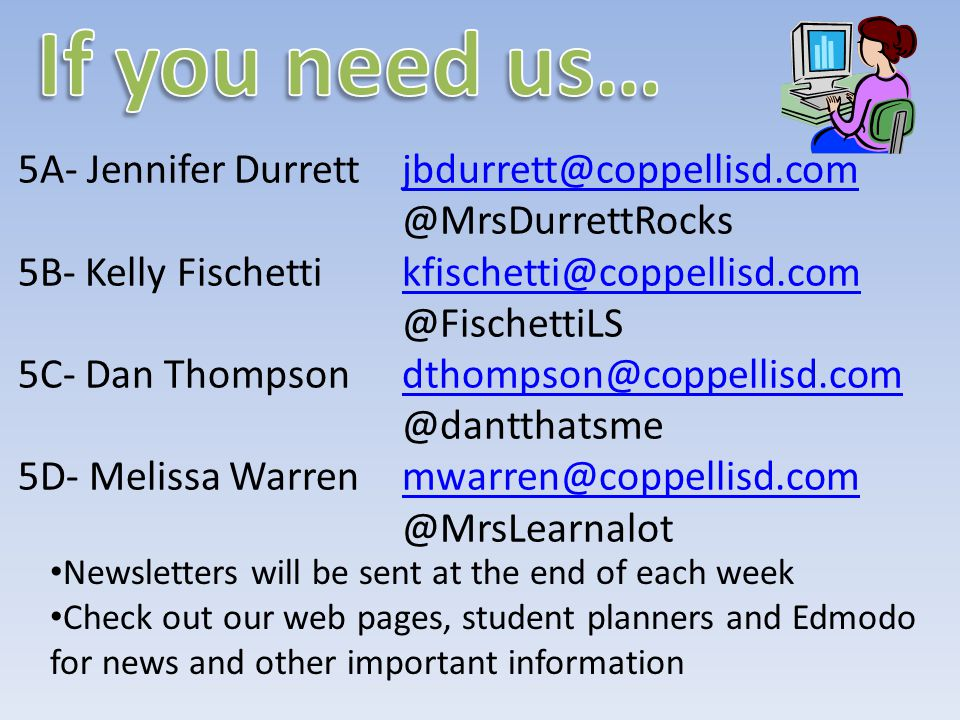 5A- Jennifer Durrett jbdurrett@coppellisd.comjbdurrett@coppellisd.com @MrsDurrettRocks 5B- Kelly Fischetti kfischetti@coppellisd.comkfischetti@coppellisd.com @FischettiLS 5C- Dan Thompson dthompson@coppellisd.comdthompson@coppellisd.com @dantthatsme 5D- Melissa Warren mwarren@coppellisd.commwarren@coppellisd.com @MrsLearnalot Newsletters will be sent at the end of each week Check out our web pages, student planners and Edmodo for news and other important information