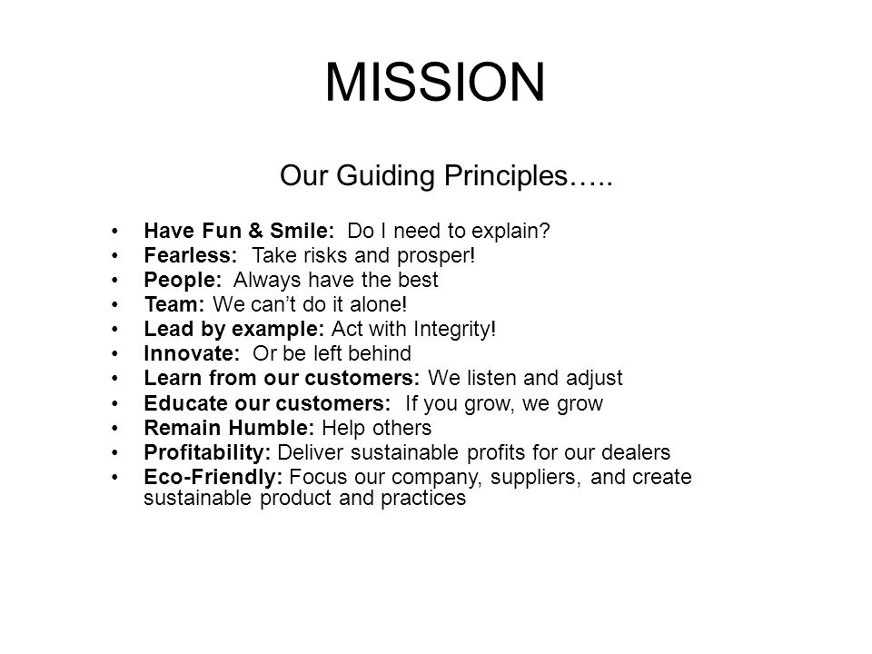 MISSION Our Guiding Principles….. Have Fun & Smile: Do I need to explain? Fearless: Take risks and prosper! People: Always have the best Team: We can'
