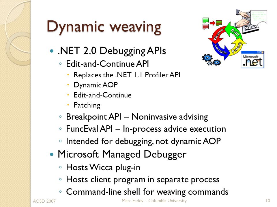 Marc Eaddy – Columbia University Dynamic weaving.NET 2.0 Debugging APIs ◦ Edit-and-Continue API  Replaces the.NET 1.1 Profiler API  Dynamic AOP  Edit-and-Continue  Patching ◦ Breakpoint API – Noninvasive advising ◦ FuncEval API – In-process advice execution ◦ Intended for debugging, not dynamic AOP Microsoft Managed Debugger ◦ Hosts Wicca plug-in ◦ Hosts client program in separate process ◦ Command-line shell for weaving commands 10 AOSD 2007