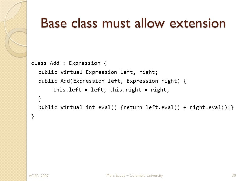 Marc Eaddy – Columbia University class Add : Expression { public virtual Expression left, right; public Add(Expression left, Expression right) { this.left = left; this.right = right; } public virtual int eval() {return left.eval() + right.eval();} } Base class must allow extension 30 AOSD 2007