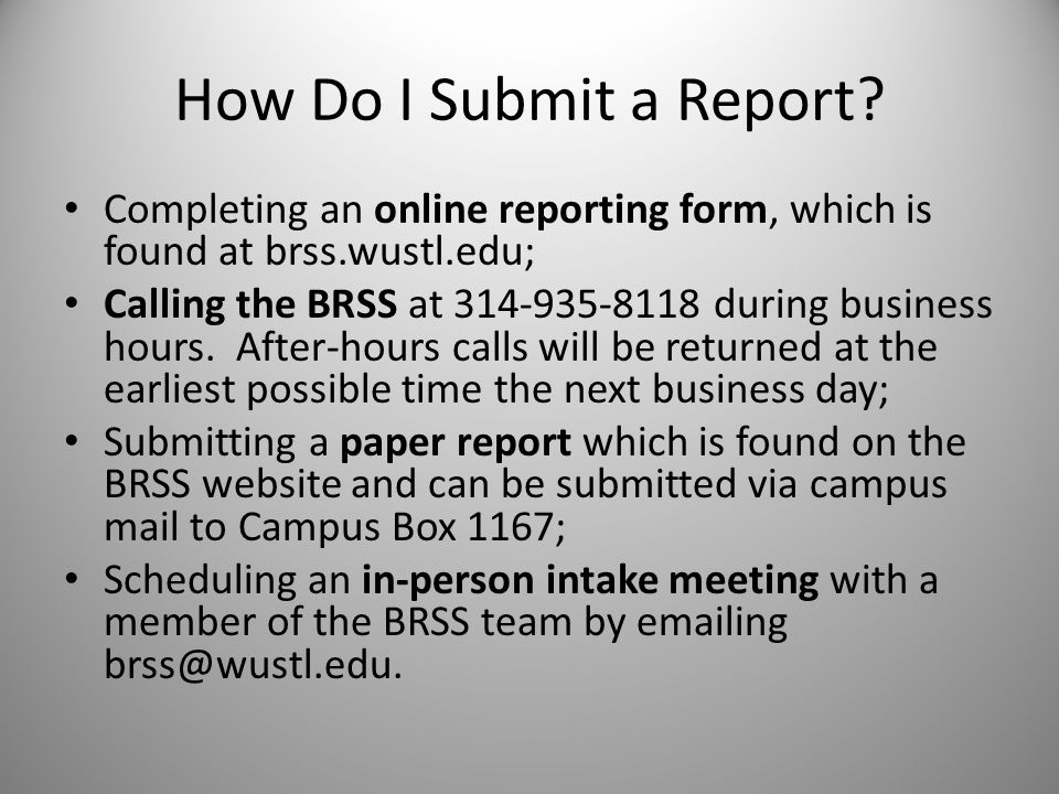 How Do I Submit a Report.