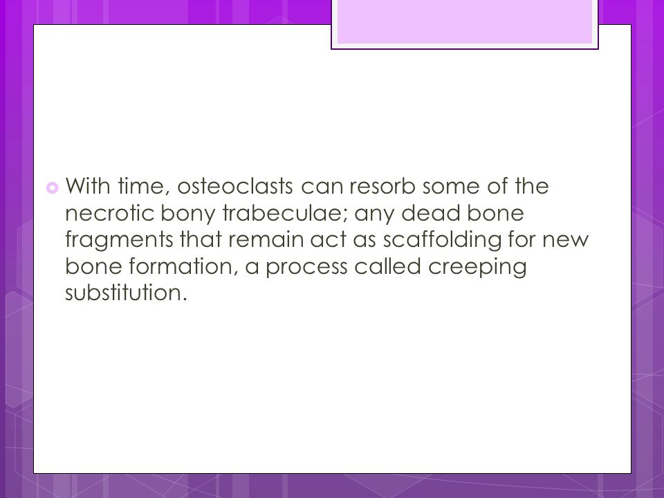  With time, osteoclasts can resorb some of the necrotic bony trabeculae; any dead bone fragments that remain act as scaffolding for new bone formatio