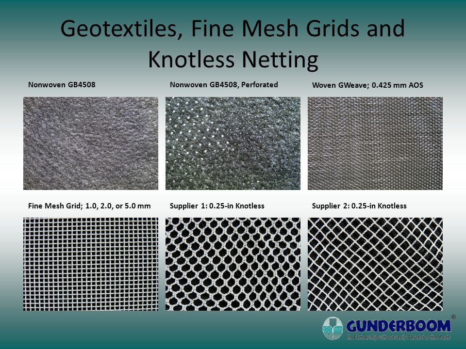 Geotextiles, Fine Mesh Grids and Knotless Netting Nonwoven GB4508Nonwoven GB4508, Perforated Woven GWeave; 0.425 mm AOS Supplier 2: 0.25-in KnotlessSupplier 1: 0.25-in KnotlessFine Mesh Grid; 1.0, 2.0, or 5.0 mm