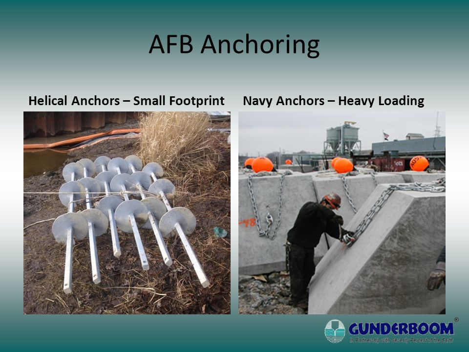 AFB Anchoring Helical Anchors – Small FootprintNavy Anchors – Heavy Loading