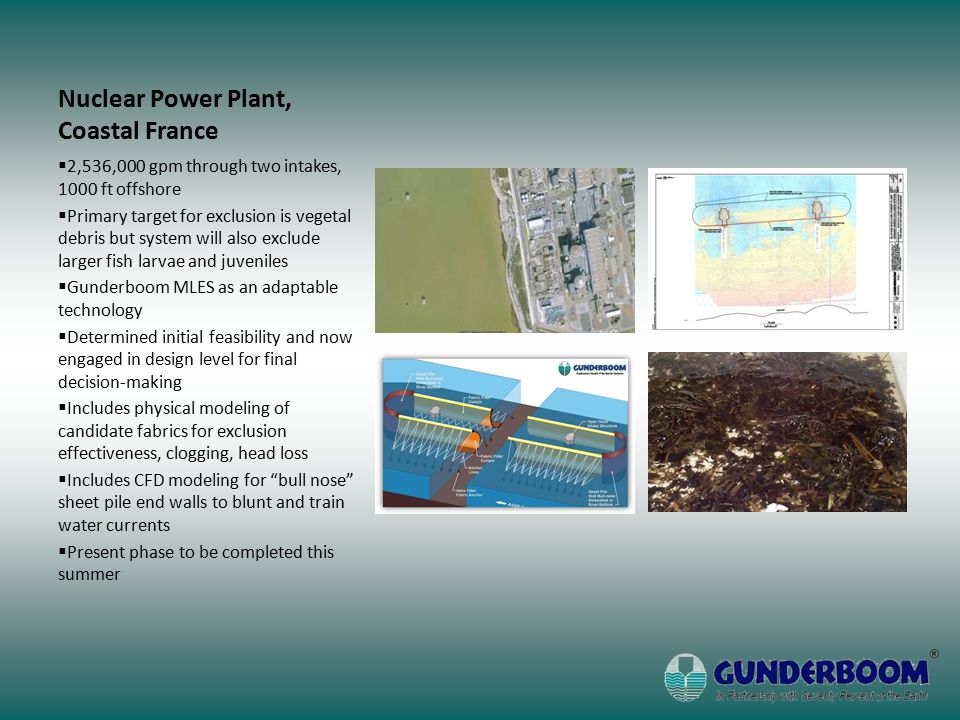 Nuclear Power Plant, Coastal France  2,536,000 gpm through two intakes, 1000 ft offshore  Primary target for exclusion is vegetal debris but system