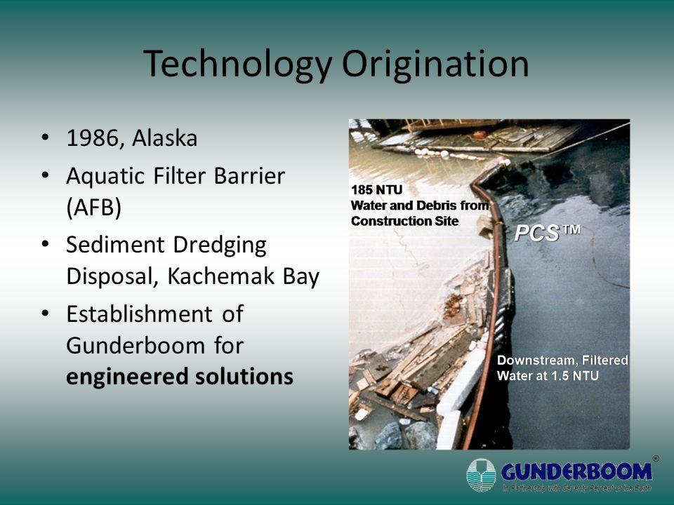 Technology Origination 1986, Alaska Aquatic Filter Barrier (AFB) Sediment Dredging Disposal, Kachemak Bay Establishment of Gunderboom for engineered solutions