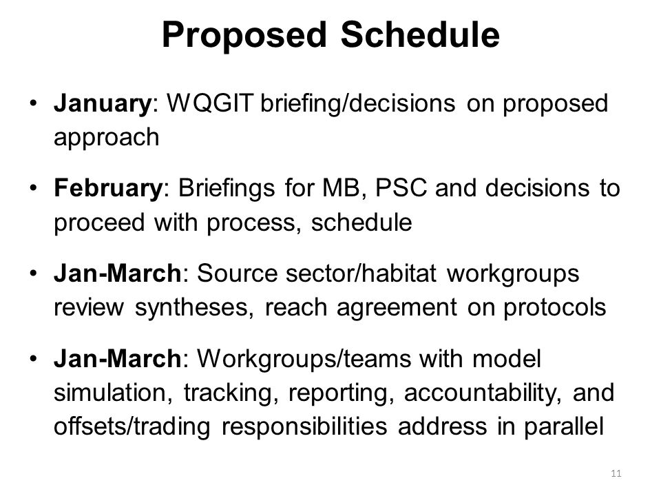 Proposed Schedule January: WQGIT briefing/decisions on proposed approach February: Briefings for MB, PSC and decisions to proceed with process, schedule Jan-March: Source sector/habitat workgroups review syntheses, reach agreement on protocols Jan-March: Workgroups/teams with model simulation, tracking, reporting, accountability, and offsets/trading responsibilities address in parallel 11