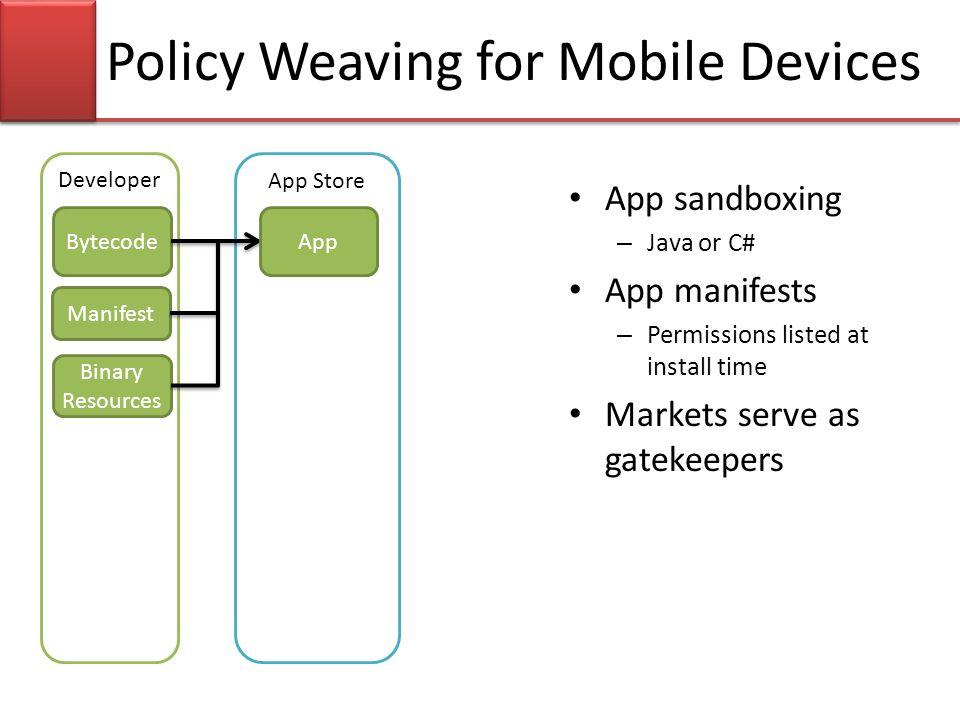 App sandboxing – Java or C# App manifests – Permissions listed at install time Markets serve as gatekeepers App Store Developer Bytecode Manifest Poli