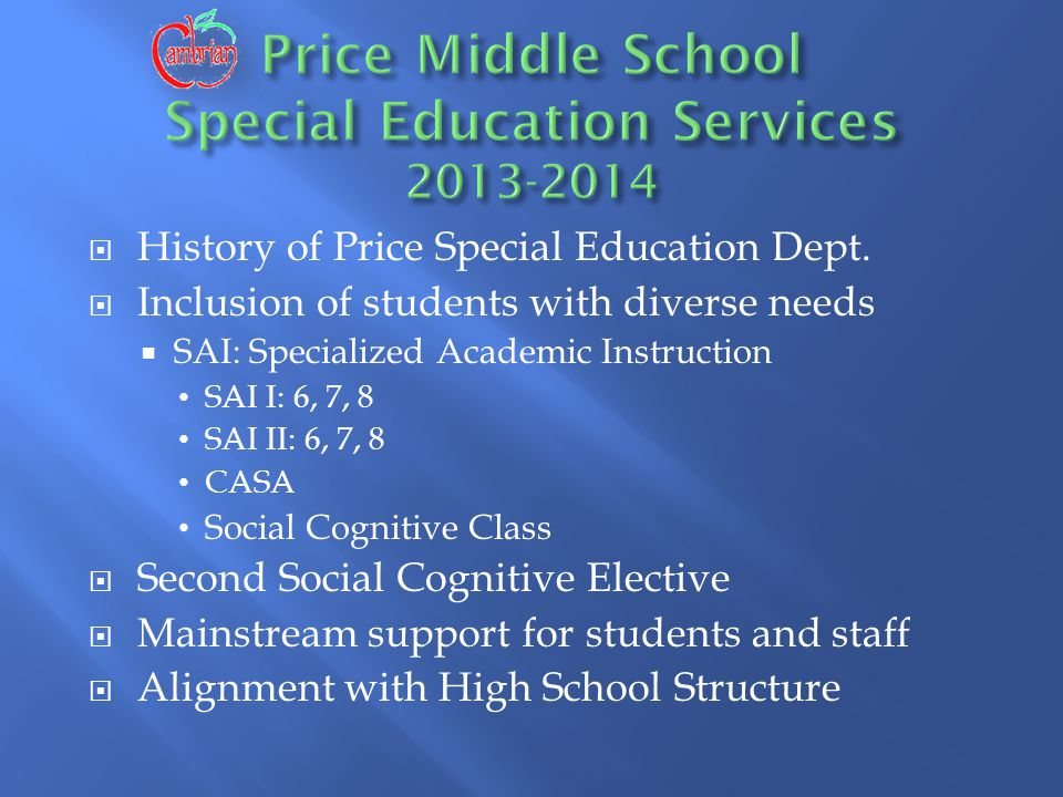  History of Price Special Education Dept.