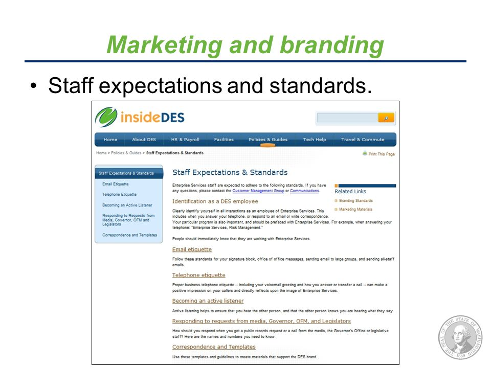 Staff expectations and standards. Marketing and branding