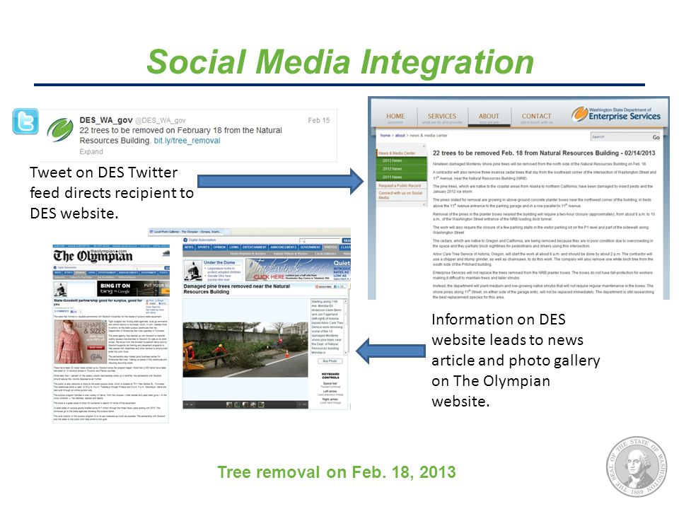 Social Media Integration Tweet on DES Twitter feed directs recipient to DES website.
