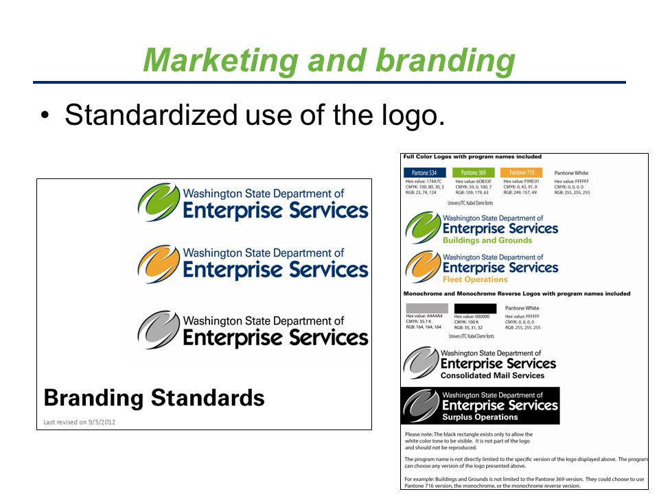 Standardized use of the logo. Marketing and branding