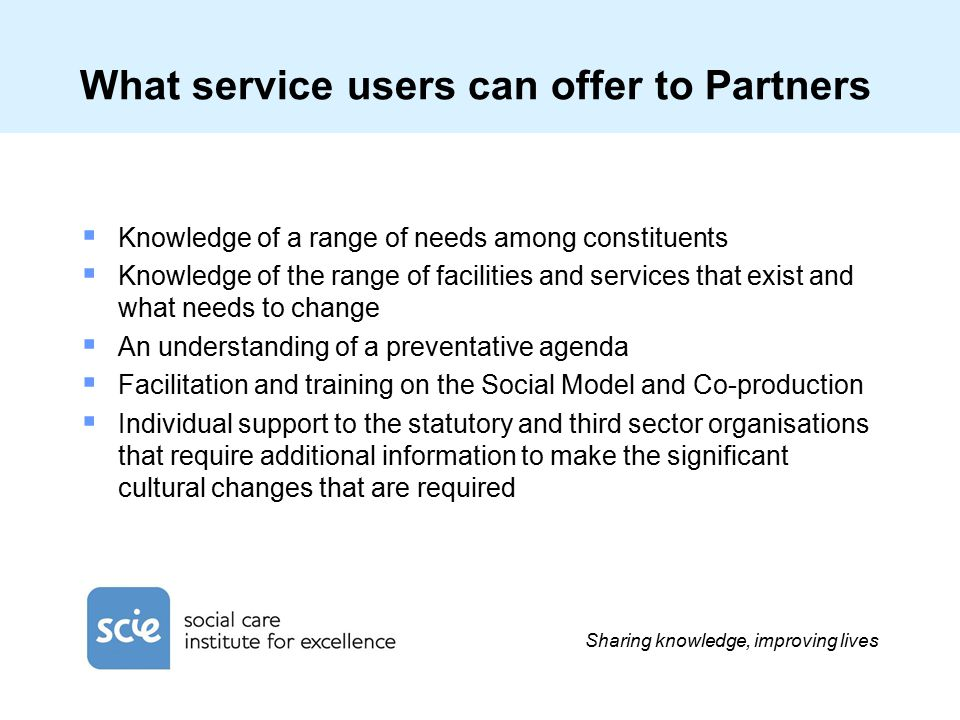 Sharing knowledge, improving lives What service users can offer to Partners  Knowledge of a range of needs among constituents  Knowledge of the rang