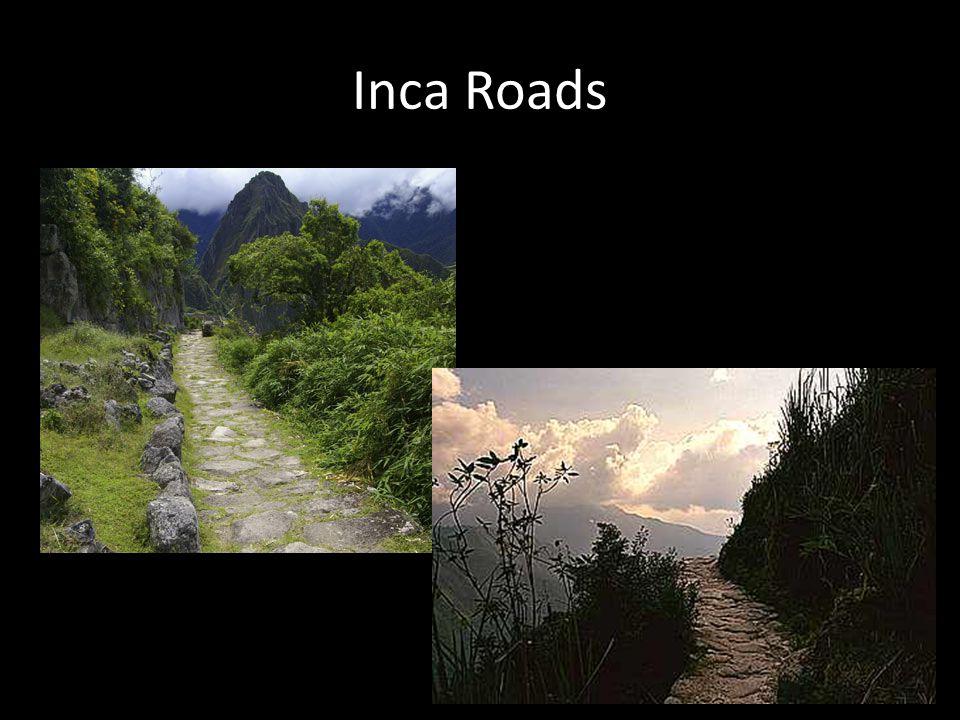 Farming terraces The Inca cut terraces into the mountains to create flat areas for farming.