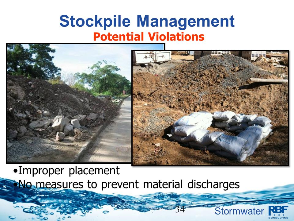 Stormwater 34 Stockpile Management Potential Violations Improper placement No measures to prevent material discharges