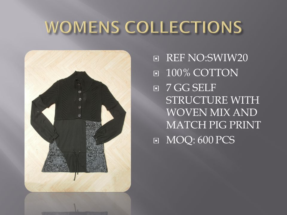  REF NO:SWIW20  100% COTTON  7 GG SELF STRUCTURE WITH WOVEN MIX AND MATCH PIG PRINT  MOQ: 600 PCS