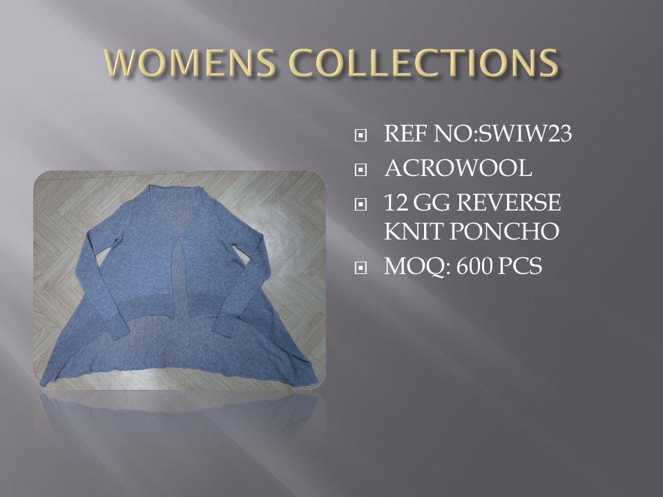  REF NO:SWIW23  ACROWOOL  12 GG REVERSE KNIT PONCHO  MOQ: 600 PCS