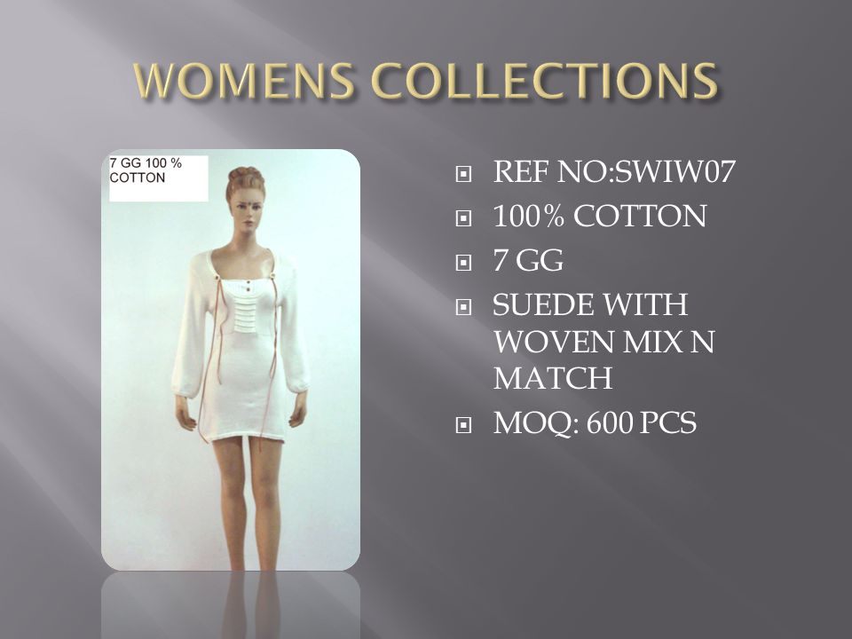  REF NO:SWIW07  100% COTTON  7 GG  SUEDE WITH WOVEN MIX N MATCH  MOQ: 600 PCS