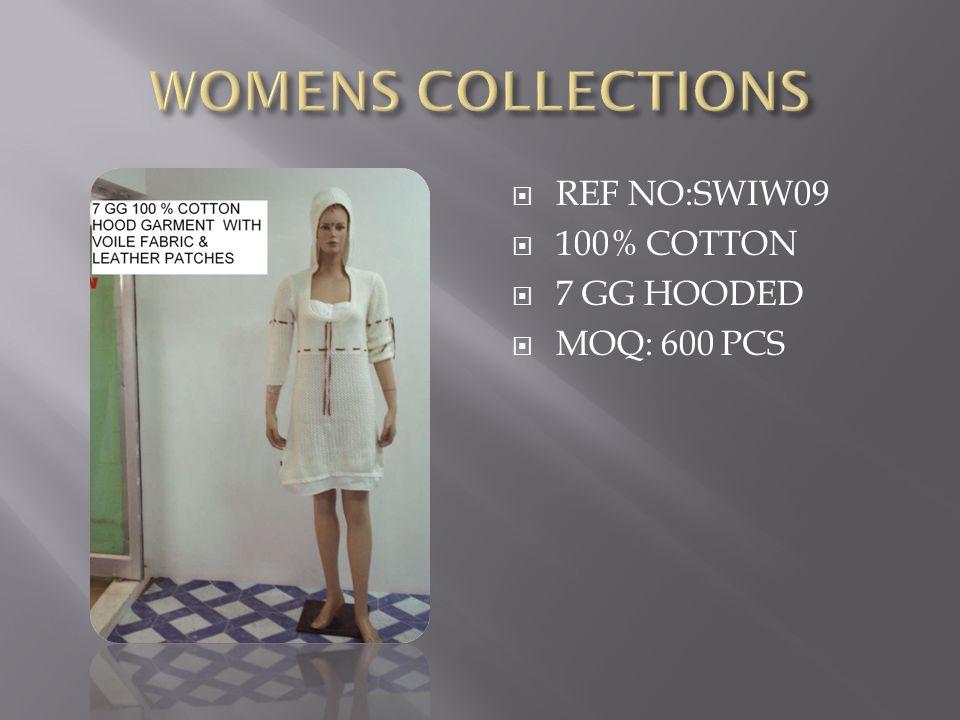  REF NO:SWIW09  100% COTTON  7 GG HOODED  MOQ: 600 PCS