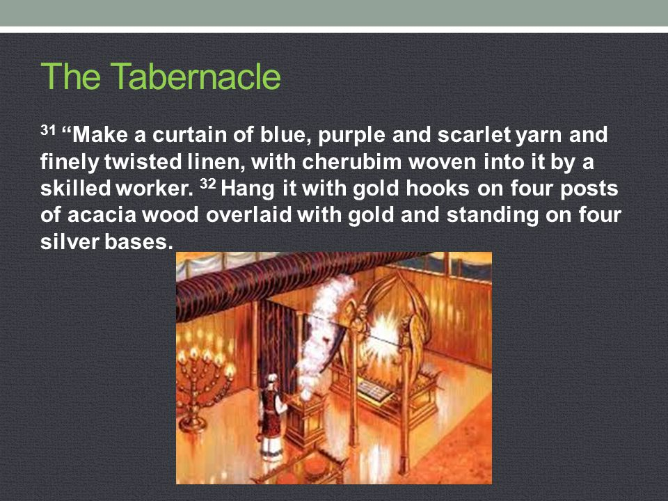 "The Tabernacle 31 ""Make a curtain of blue, purple and scarlet yarn and finely twisted linen, with cherubim woven into it by a skilled worker. 32 Hang"