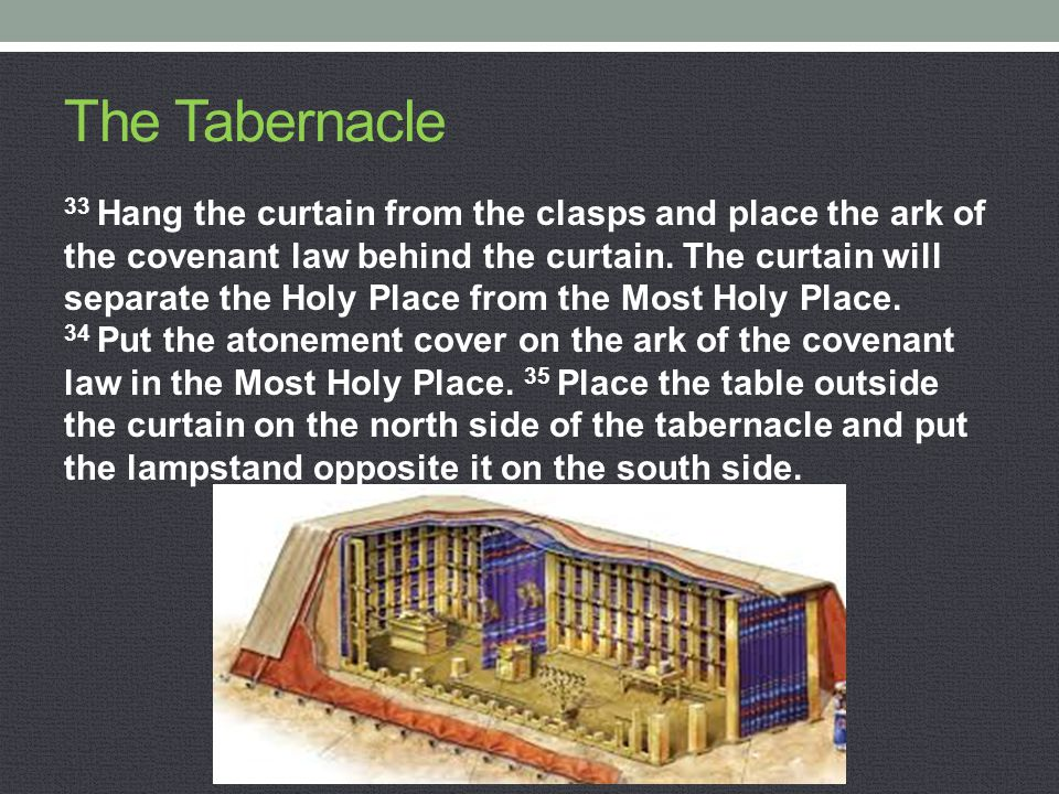 The Tabernacle 33 Hang the curtain from the clasps and place the ark of the covenant law behind the curtain. The curtain will separate the Holy Place
