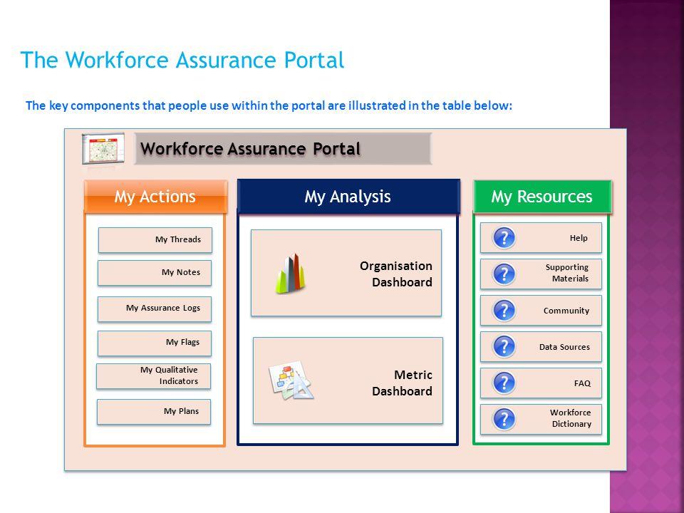 My Analysis My Resources My Actions Organisation Dashboard Metric Dashboard Help Workforce Assurance Portal My Flags The Workforce Assurance Portal My