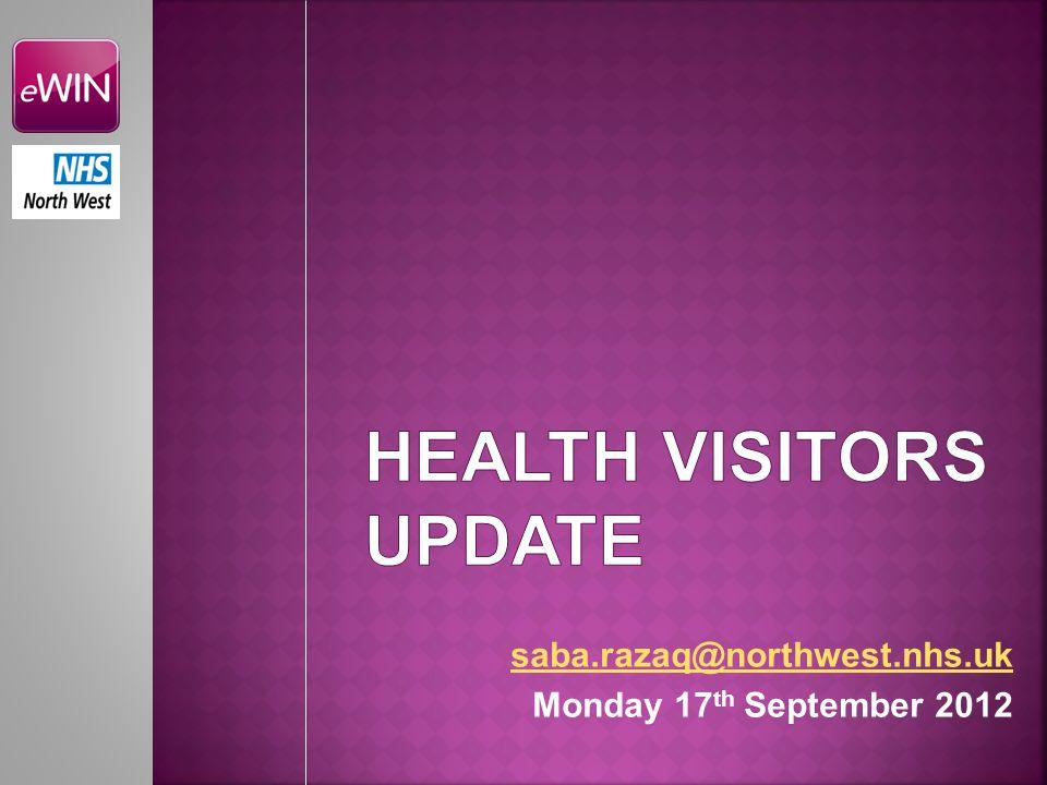 saba.razaq@northwest.nhs.uk Monday 17 th September 2012
