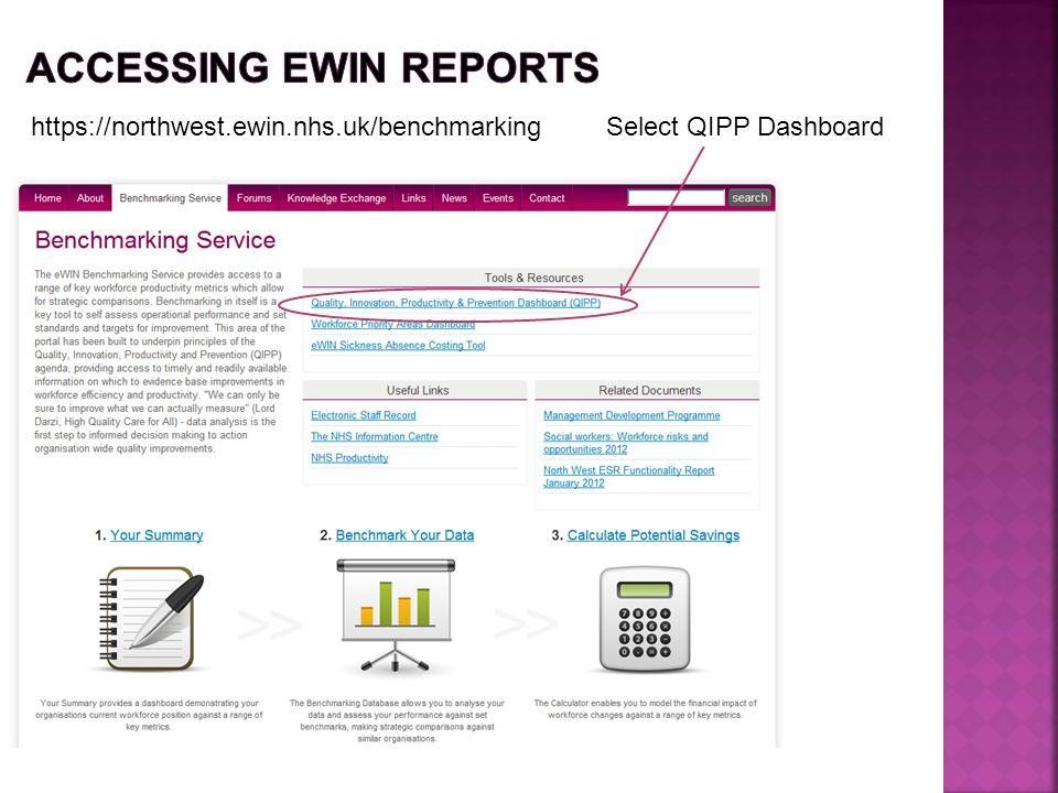 https://northwest.ewin.nhs.uk/benchmarkingSelect QIPP Dashboard