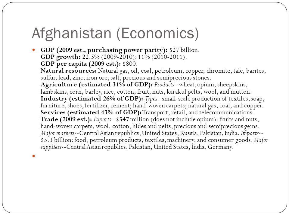 Afghanistan (Economics) GDP (2009 est., purchasing power parity): $27 billion.
