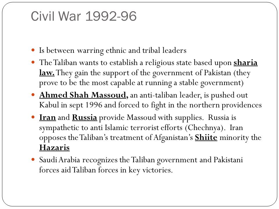 Taliban Government 1997-2001 Sharia Law is imposed.