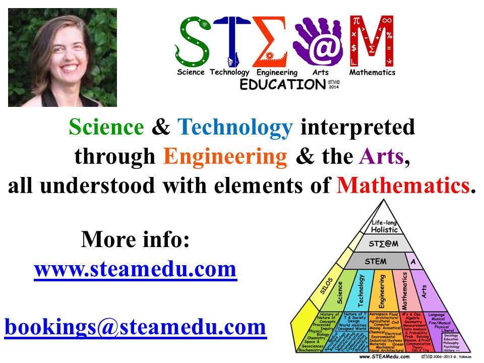 ST∑@MST∑@M More info: www.steamedu.com bookings@steamedu.com Science & Technology interpreted through Engineering & the Arts, all understood with elements of Mathematics.