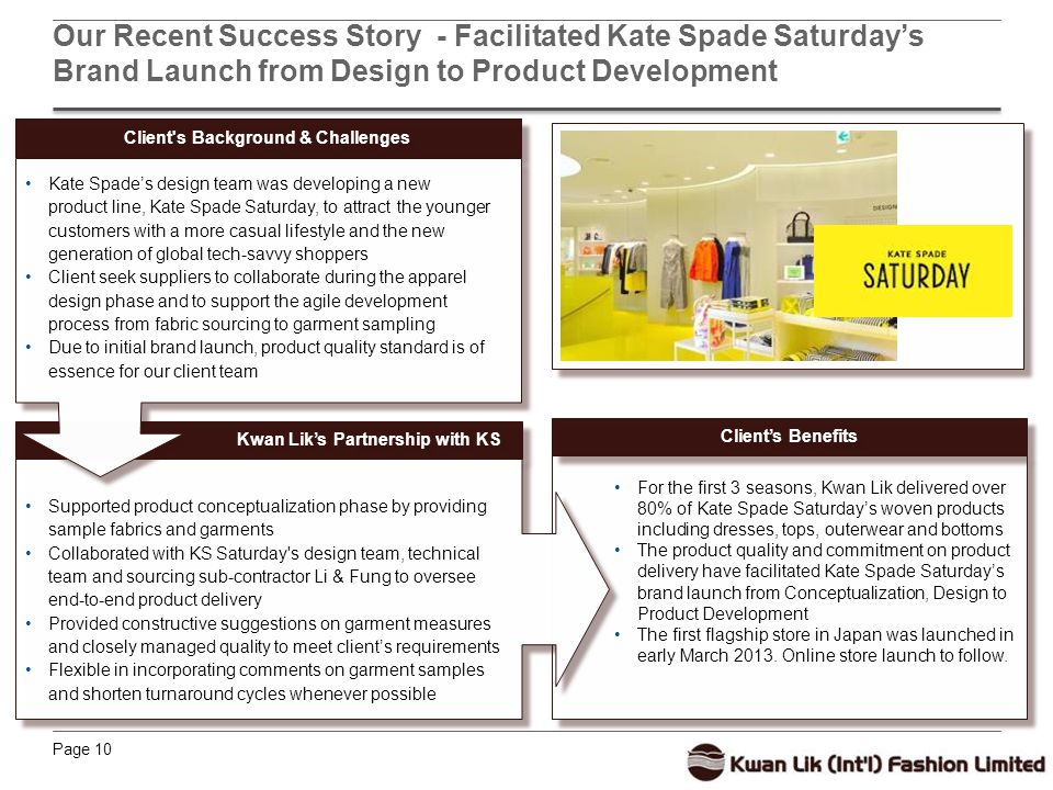 Page 10 Our Recent Success Story - Facilitated Kate Spade Saturday's Brand Launch from Design to Product Development For the first 3 seasons, Kwan Lik delivered over 80% of Kate Spade Saturday's woven products including dresses, tops, outerwear and bottoms The product quality and commitment on product delivery have facilitated Kate Spade Saturday's brand launch from Conceptualization, Design to Product Development The first flagship store in Japan was launched in early March 2013.