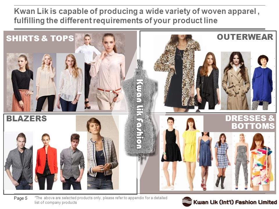 Page 5 Kwan Lik is capable of producing a wide variety of woven apparel, fulfilling the different requirements of your product line DRESSES & BOTTOMS SHIRTS & TOPS OUTERWEAR BLAZERS *The above are selected products only, please refer to appendix for a detailed list of company products Kwan Lik Fashion