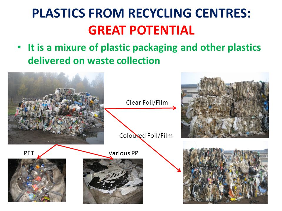 PLASTICS FROM RECYCLING CENTRES: GREAT POTENTIAL It is a mixure of plastic packaging and other plastics delivered on waste collection Clear Foil/Film Coloured Foil/Film PETVarious PP