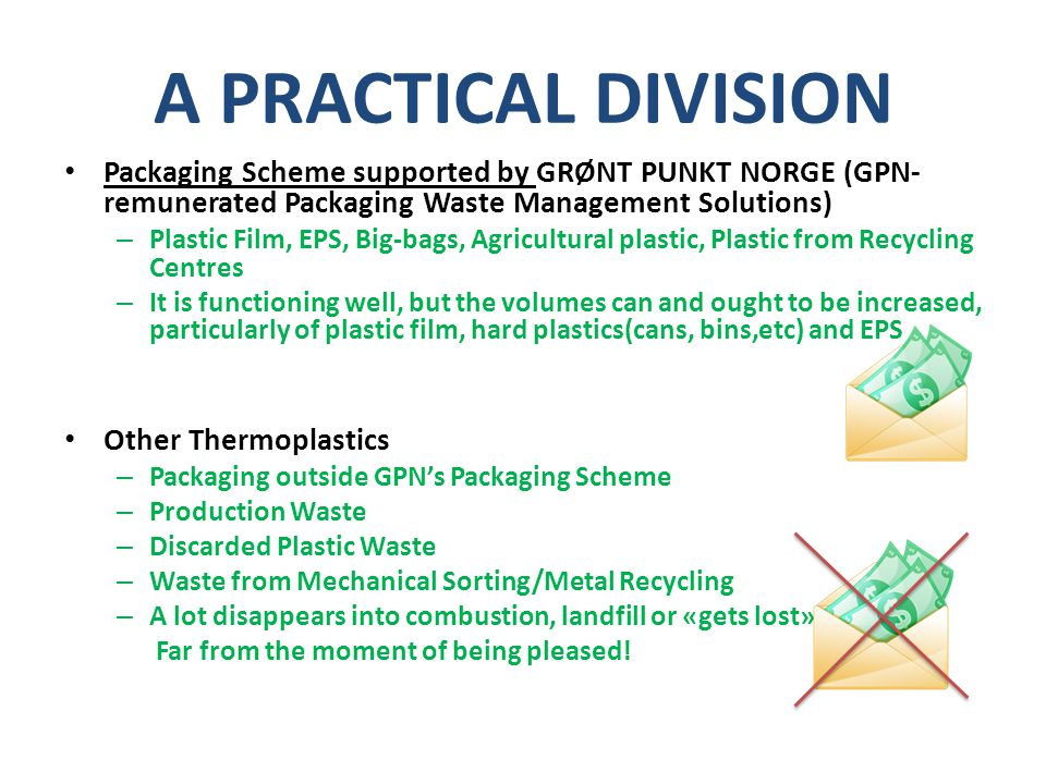 A PRACTICAL DIVISION Packaging Scheme supported by GRØNT PUNKT NORGE (GPN- remunerated Packaging Waste Management Solutions) – Plastic Film, EPS, Big-bags, Agricultural plastic, Plastic from Recycling Centres – It is functioning well, but the volumes can and ought to be increased, particularly of plastic film, hard plastics(cans, bins,etc) and EPS Other Thermoplastics – Packaging outside GPN's Packaging Scheme – Production Waste – Discarded Plastic Waste – Waste from Mechanical Sorting/Metal Recycling – A lot disappears into combustion, landfill or «gets lost» Far from the moment of being pleased!