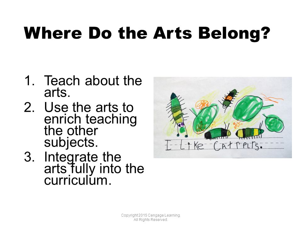 Where Do the Arts Belong. 1.Teach about the arts.