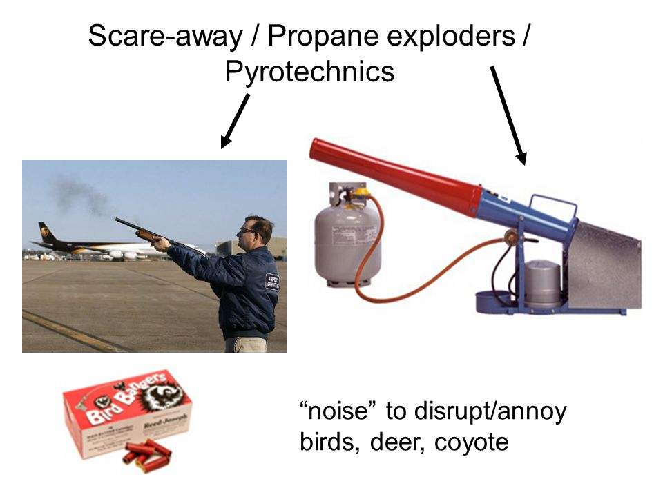 Scare-away / Propane exploders / Pyrotechnics noise to disrupt/annoy birds, deer, coyote